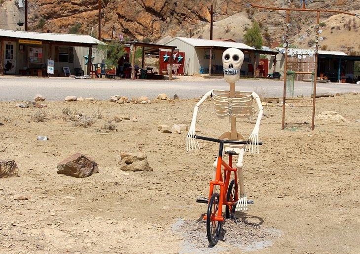 Skeleton on a bike in Terlingua