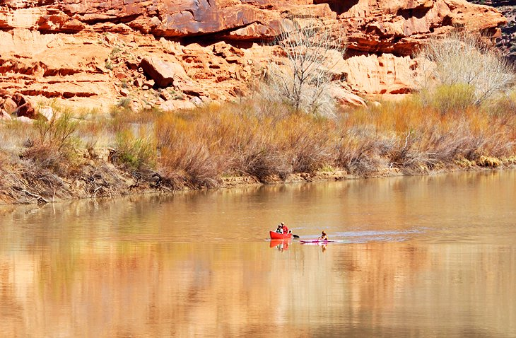 Kayaks on the Colorado River near Moab