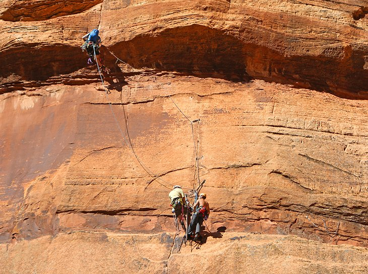 Rock climbers in Zion Canyon