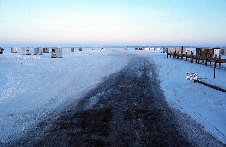 Ice road and fishing shacks on Lake Winnebago