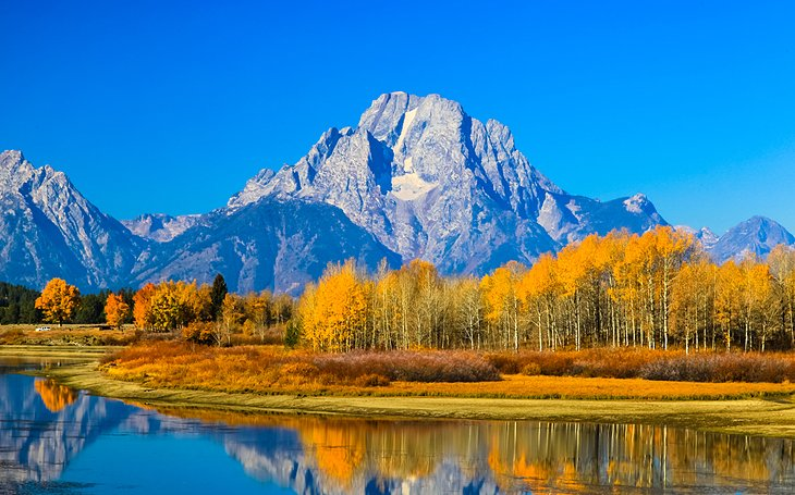 Mountains in fall in Grand Teton National Park
