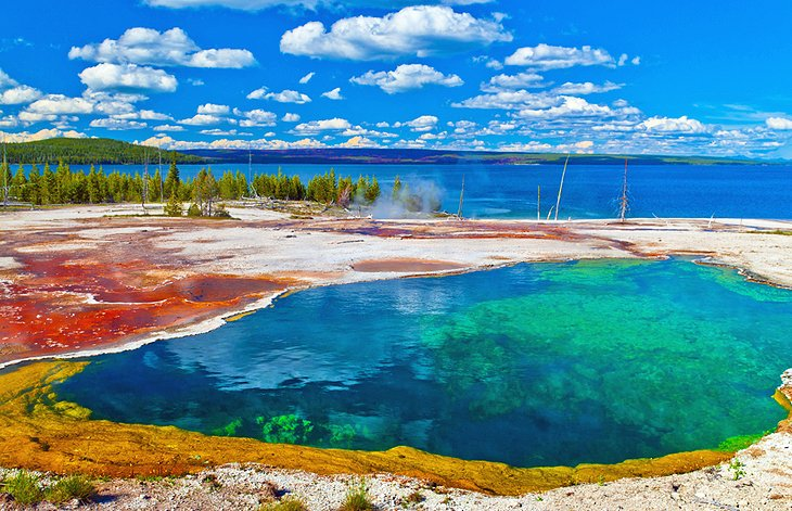 Yellowstone Lake and Abyss Pool in West Thumb Gyser Basin