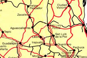 Mexico- Long Distance Routes by Road, Rail and Ferry