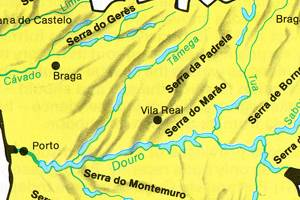 Portugal - Major rivers, lakes and Montains