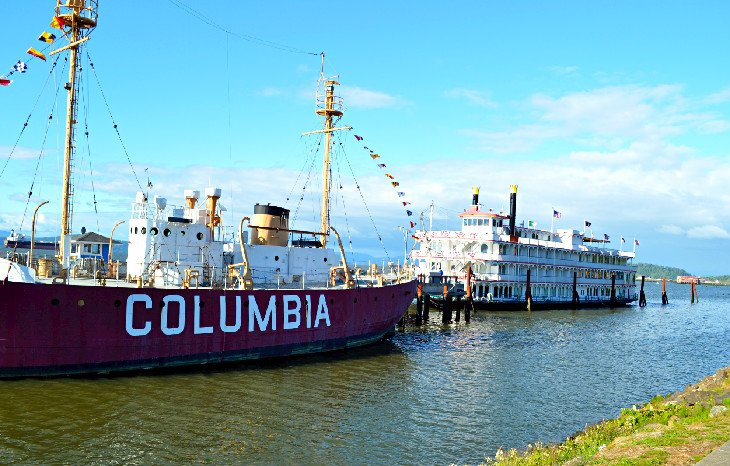 Ships along the Astoria Riverfront