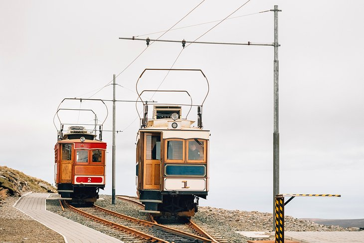 Vintage trams on Snaefell