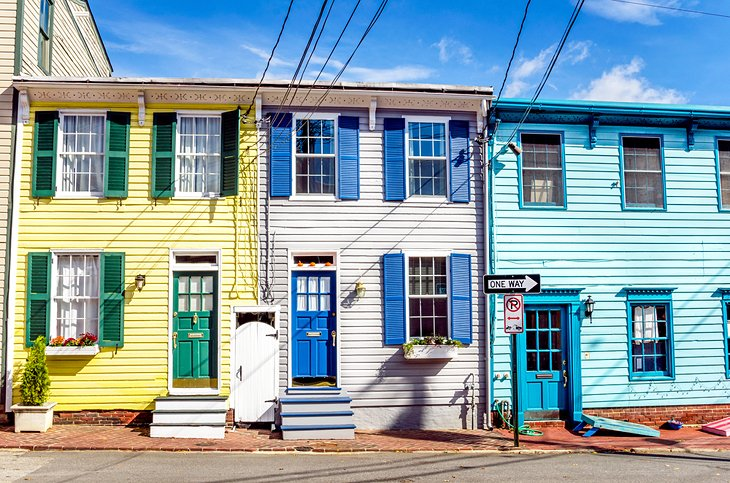 Colorful homes in the Annapolis Historic District