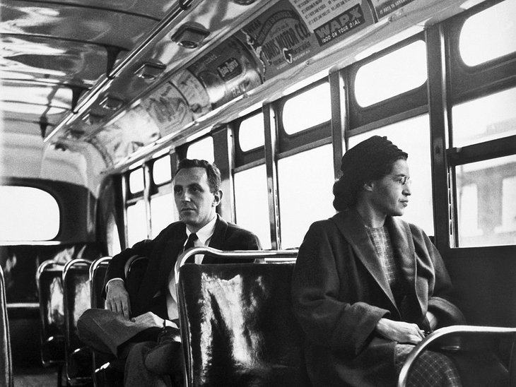Photo of Rosa Parks as the Anti-Segregation Ruling Took Effect