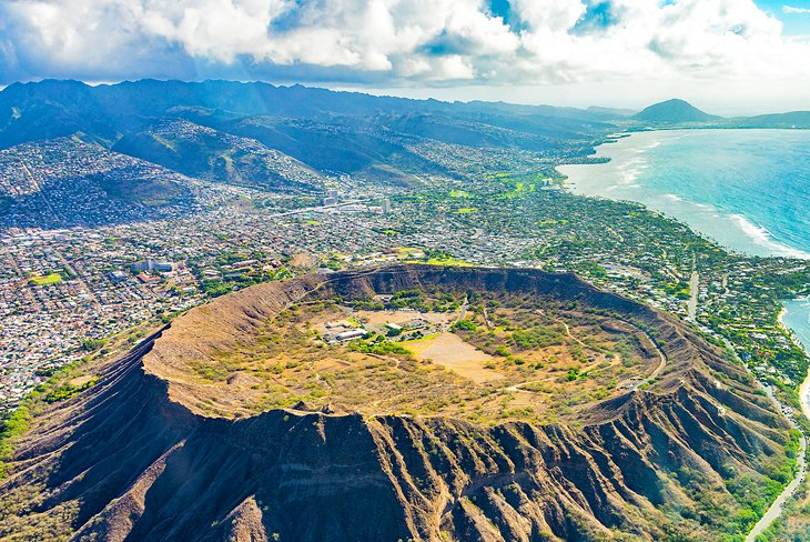Aerial view of Diamond Head crater