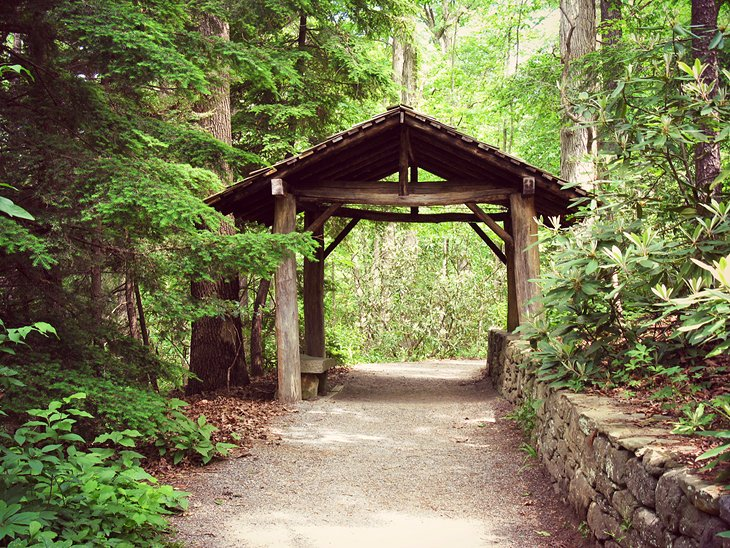 Old covered bridge in the Botanical Gardens of Asheville