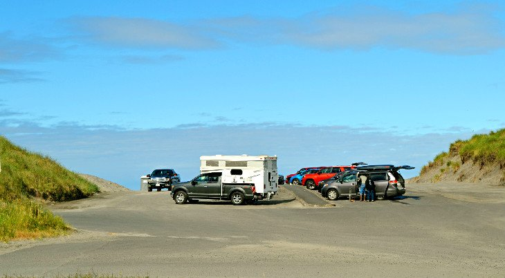 Beach parking at Fort Stevens State Park