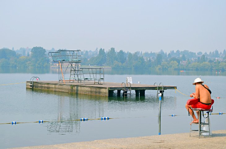 Lifeguard on duty at Green Lake