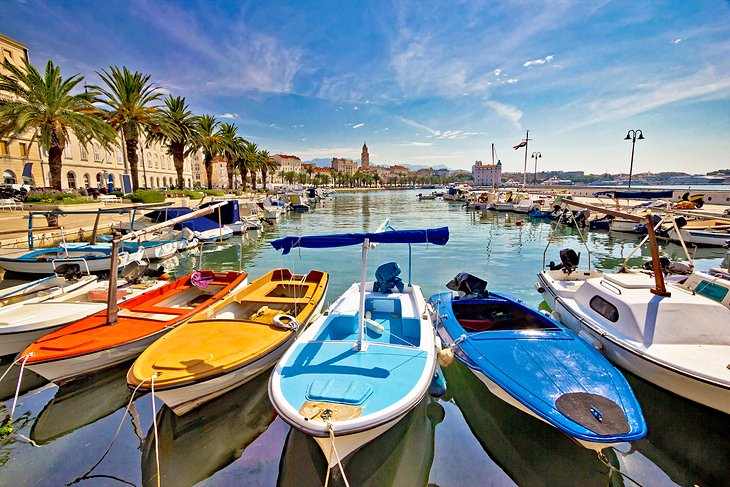 Colorful boats in Split harbor
