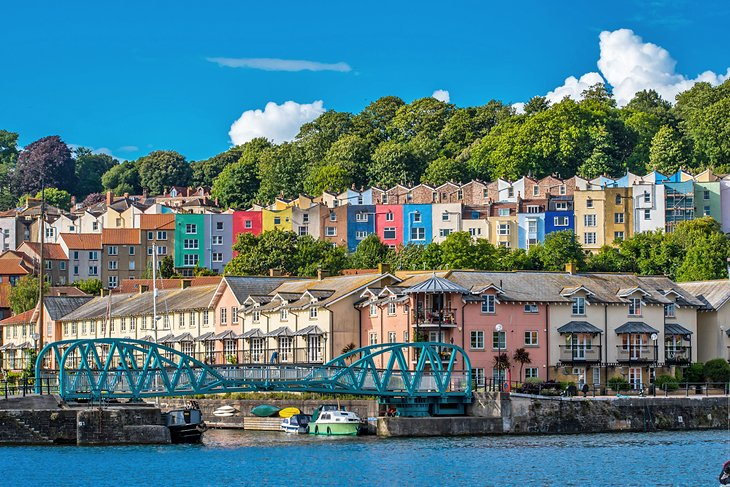 Colorful homes in the Harbourside area of Bristol