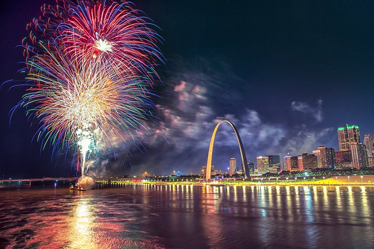 Fireworks over the St. Louis riverfront