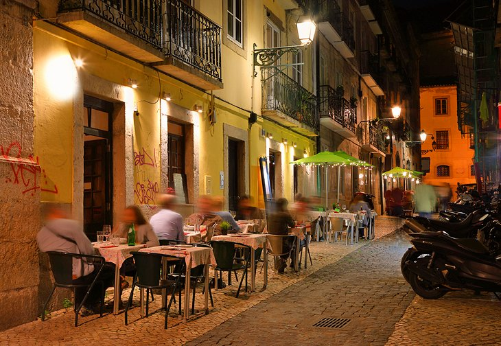 Dining in the evening in Lisbon