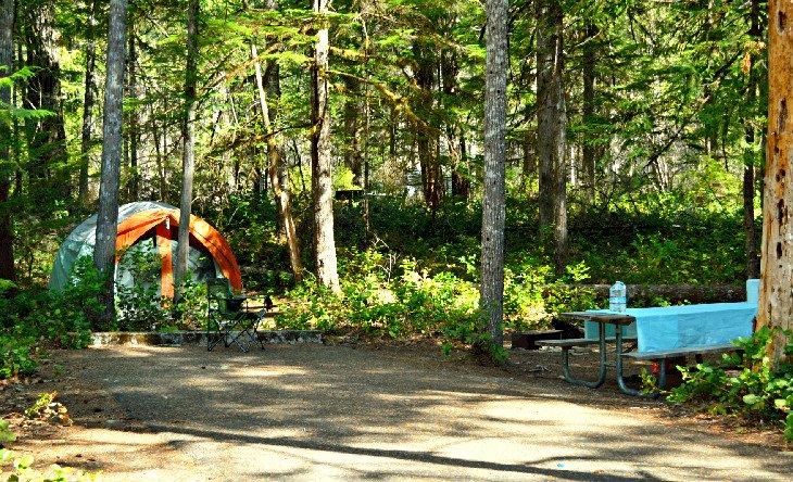 Tienda de campaña en Goodell Creek Campground