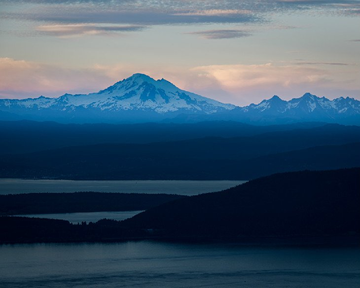 Mount Baker at dusk from Mount Constitution in Moran State Park