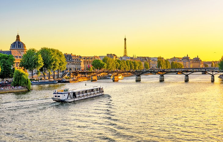 Seine river cruise at sunset