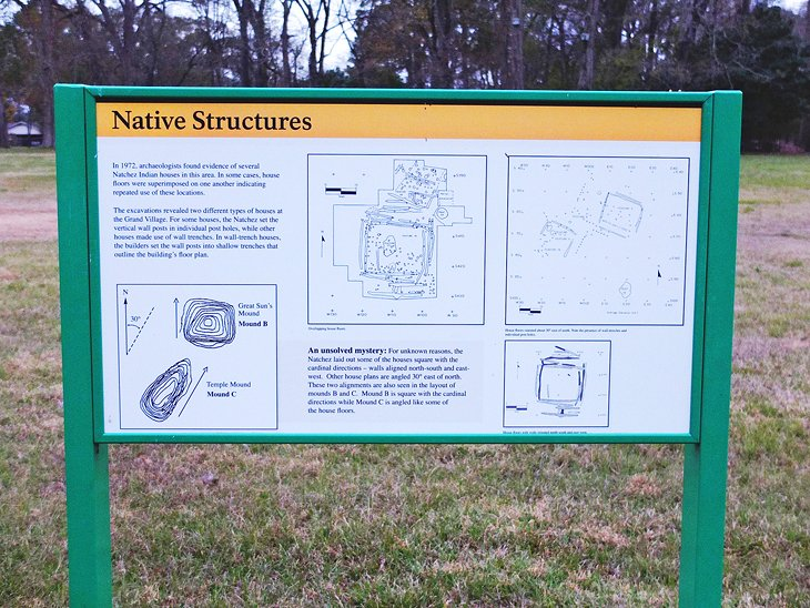 Interpretive sign at the Grand Village of the Natchez