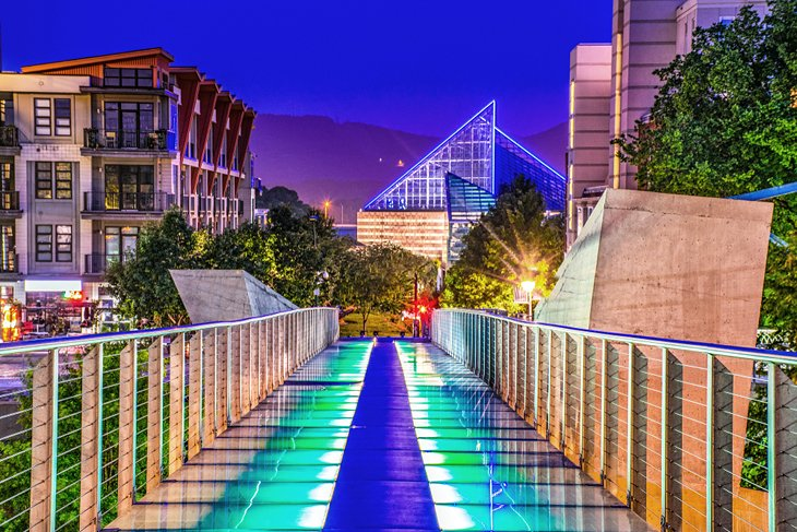 Holmberg Glass Bridge and downtown
