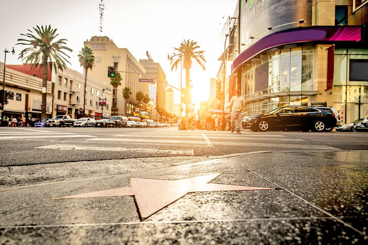 Sunset on the Hollywood Walk of Fame
