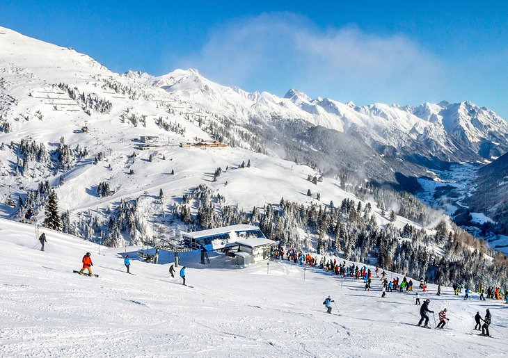 Skiers and snowboarders at St. Anton