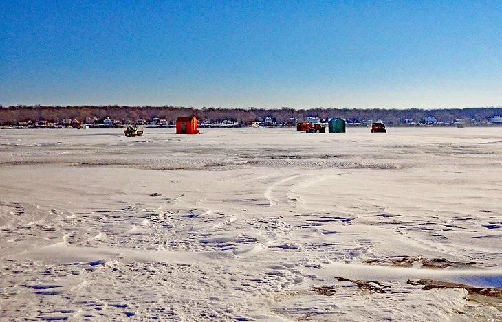 Ice fishing cabins on Lake Erie