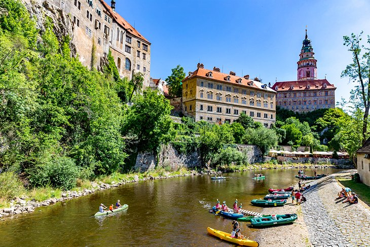 Kayaking on the Vltava River through the historic district