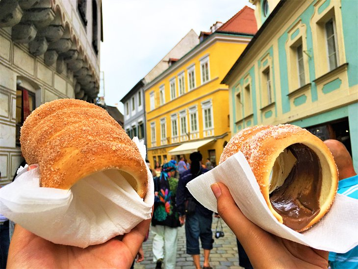 Traditional Czech pastries in Cesky Krumlov
