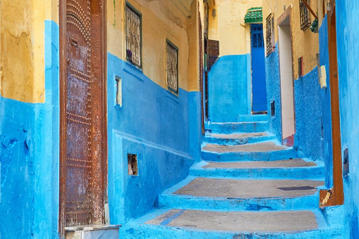 A colorful alleyway in the Tangier Medina