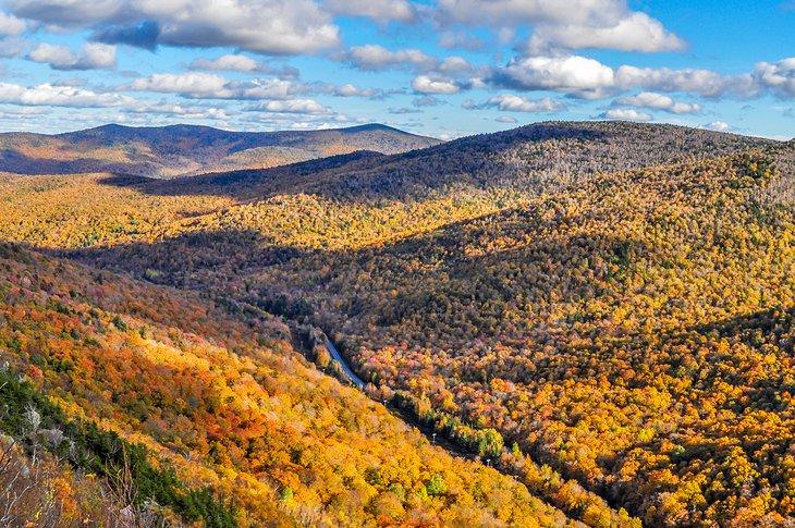 Vista de los colores del otoño desde el Long Trail