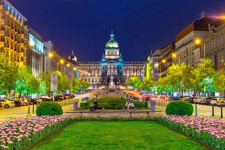 Wenceslas Square and the National Museum at night