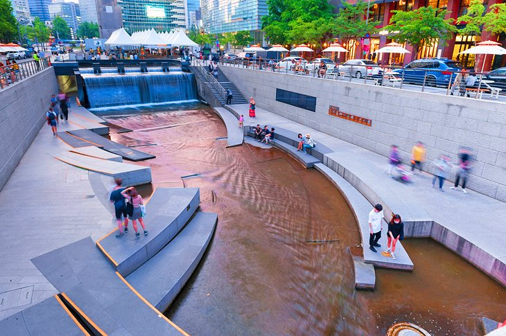 Cheonggyecheon Stream in central Seoul