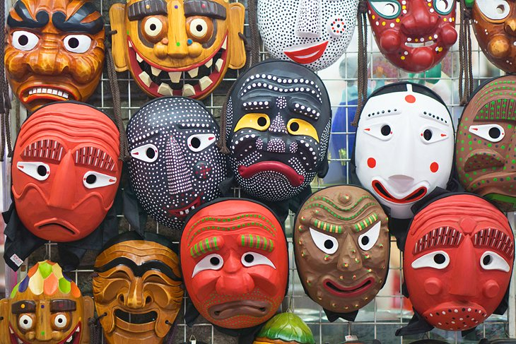 Traditional Korean masks at a store in Insadong