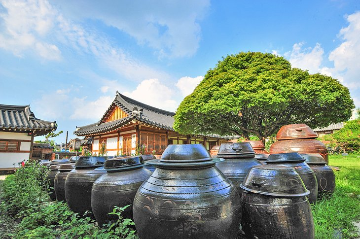 Traditional house with storage pots in Jeonju