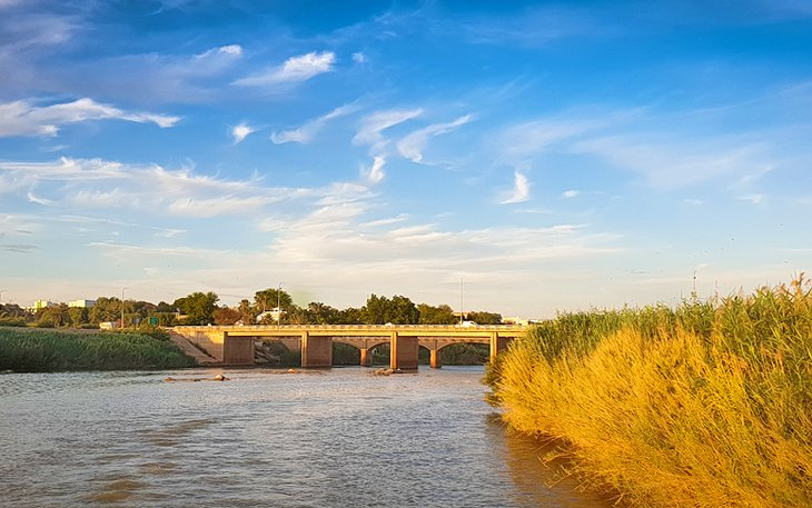 View of the Orange River and bridge at Upington