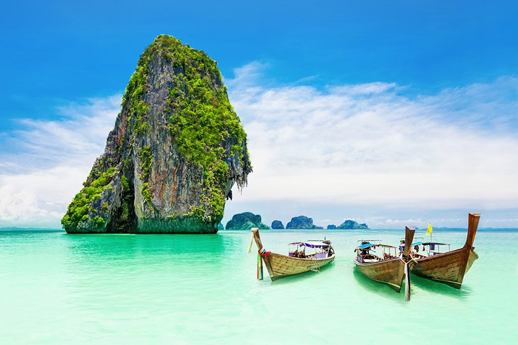 Long-tail boats at the Phi Phi Islands