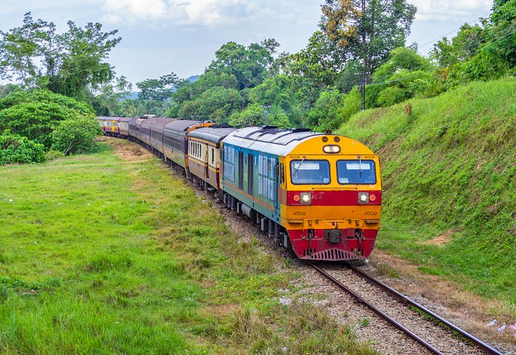 Train in the countryside of southern Thailand