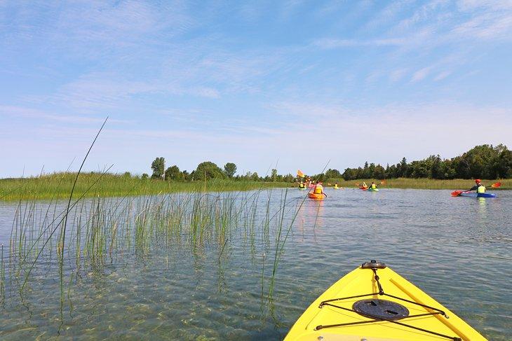 Un grupo de kayakistas en el río Mink.