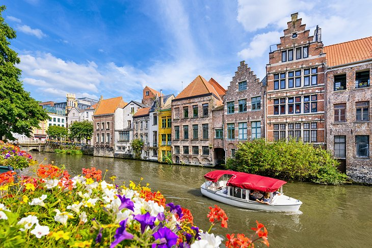 A flower-lined canal in Ghent