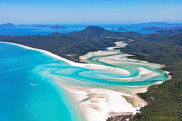 Visão geral de Whitehaven Beach, Queensland, Austrália