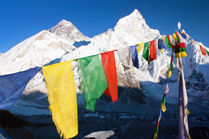 Prayer flags in front of Mt. Everest