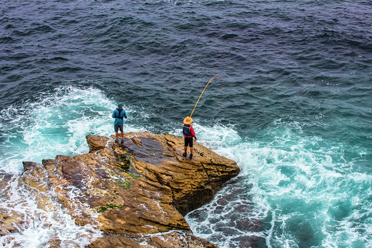 Dos pescadores en las rocas en Bondi Beach