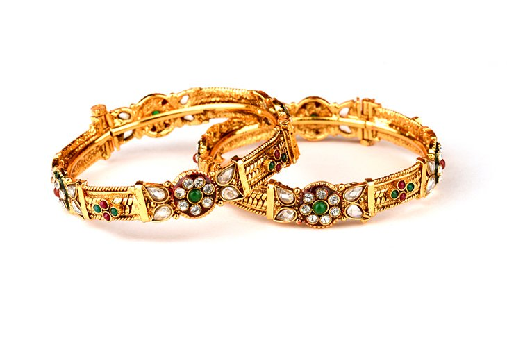 Indian bracelets with diamonds and jewels