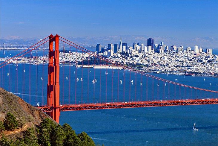 The Golden Gate Bridge and San Francisco skyline