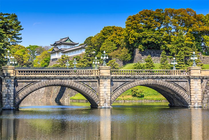 Imperial Palace bridge and gardens in Tokyo