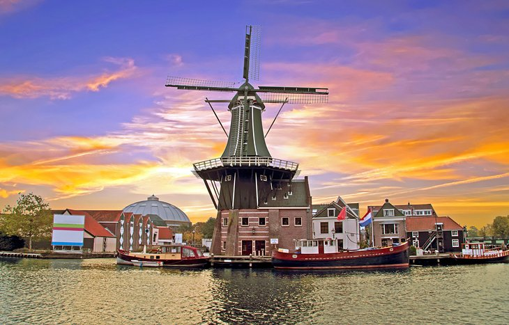 Windmill at sunset in Haarlem