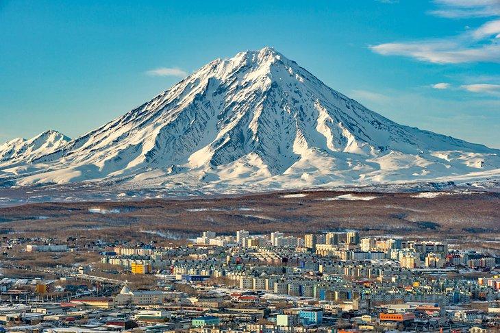 Snow-covered volcano in Petropavlovsk-Kamchatsky