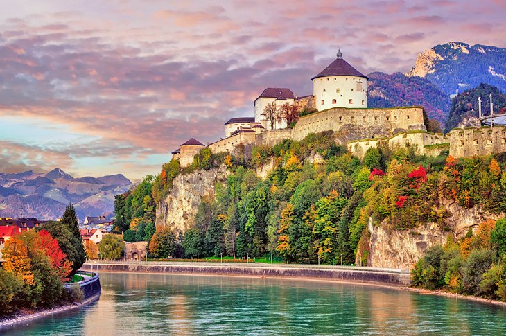 Kufstein's fortress at sunset